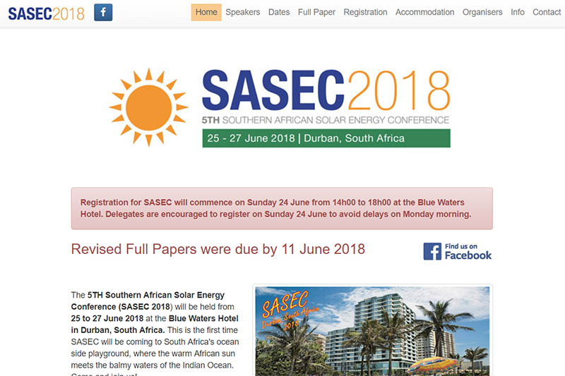 Southern African Solar Energy Conference 2018